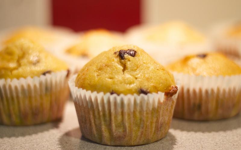 Cupcakes de calabaza con pepitas de chocolate